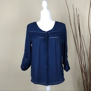 SWEET WANDERER Navy Blue Lace Blouse Floral M NWT